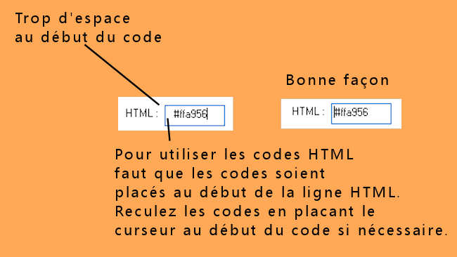 Emplacement codes html